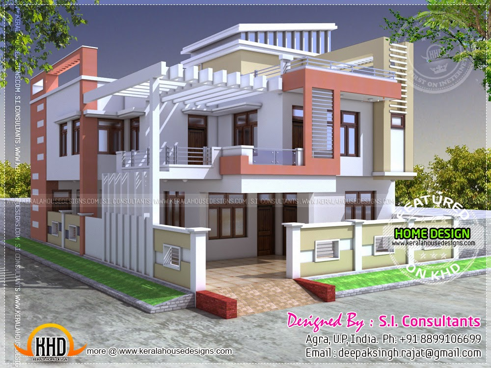 Modern indian house in 2400 square feet kerala home for Home front design in indian style