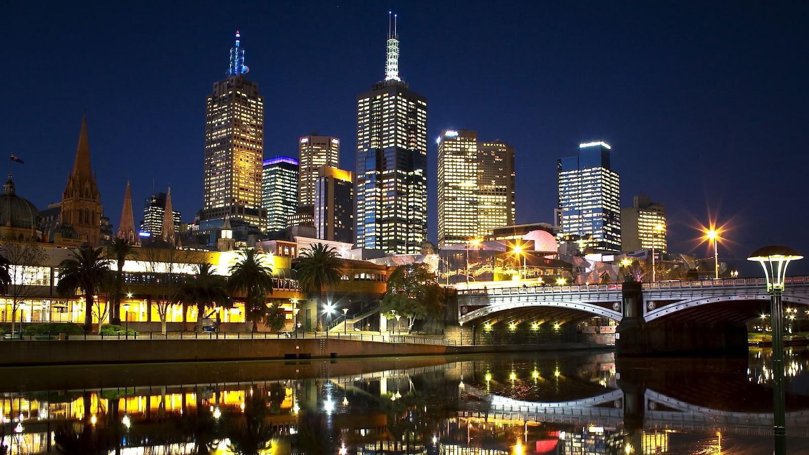 Foto van stad melbourne bij nacht wallpaper hd australië melbourne