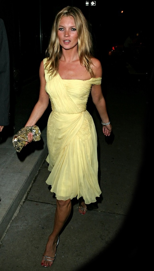 Kate Moss in yellow vintage dress