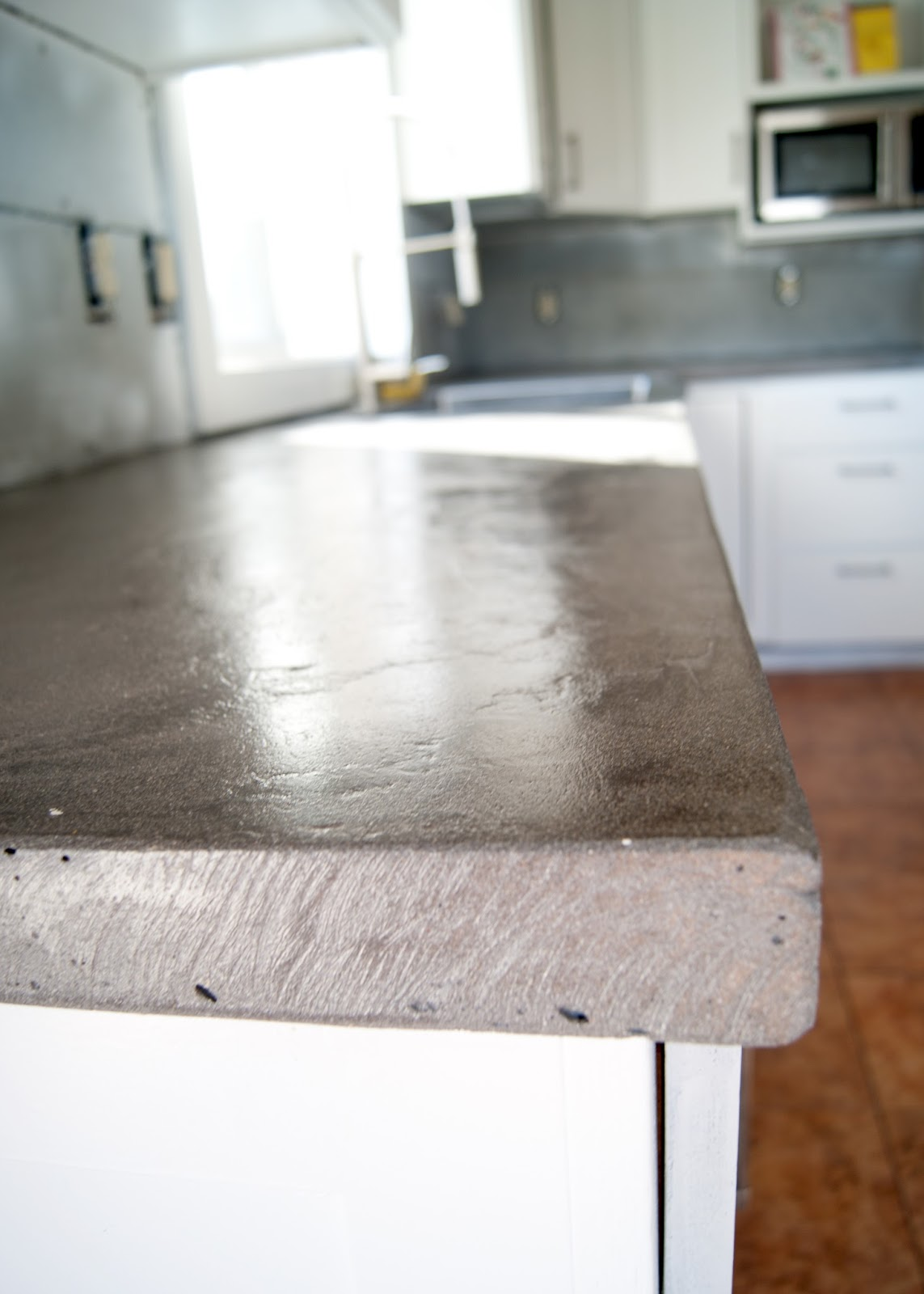 Beautiful D.I.Y Concrete Counters   Wet Look Sealer