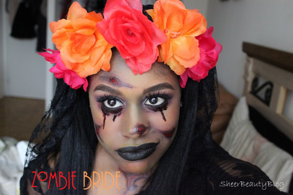dead zombie bride flower headband black lace evil bride