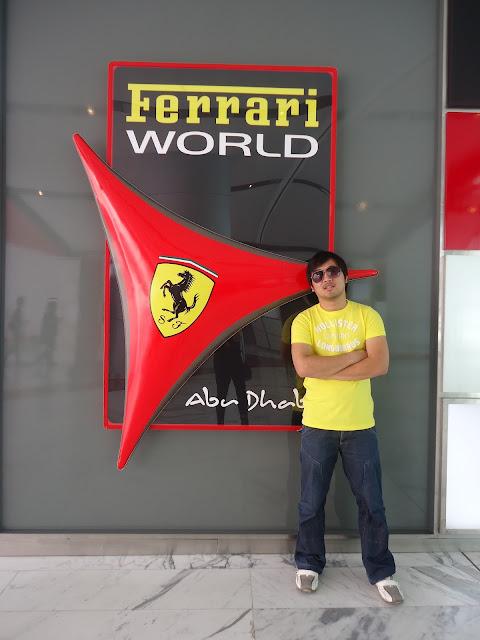 Ed posing in Ferrari World Yas Island Abu Dhabi
