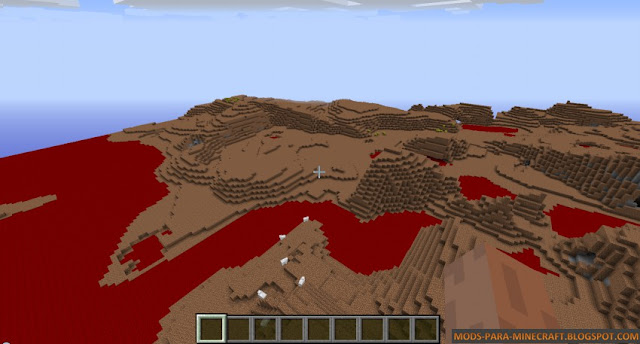 En esta imagen se ve la nueva generación de mundo: la tierra y la sangre ahora es lo único que puede encontrar en Minecraft