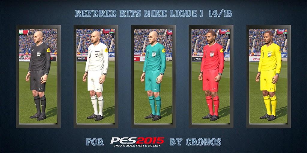 PES 2015 Referee Kits Nike Ligue 1 14-15 + Adidas UEFA Champions League 14-15 CPK