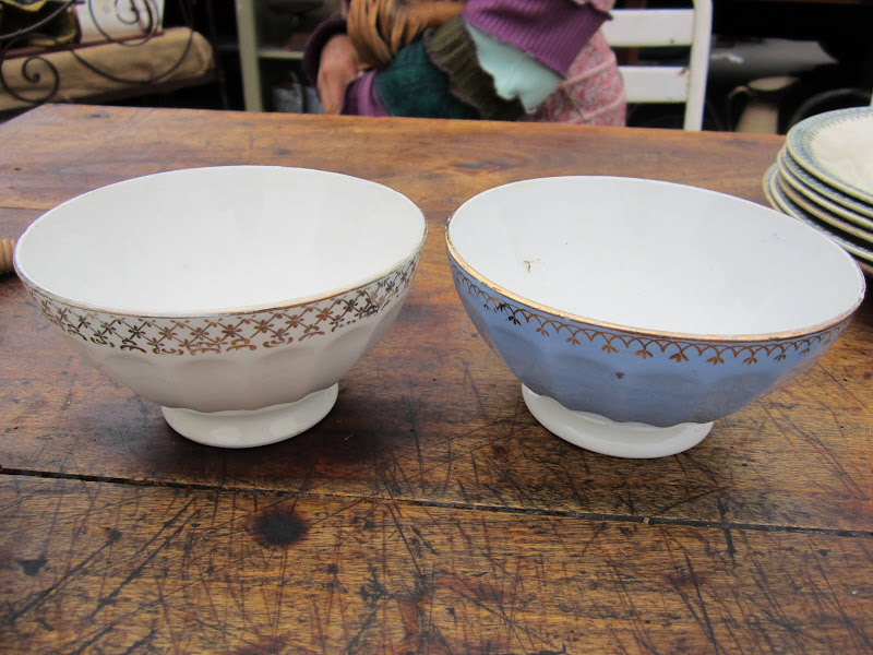 Two French vintage  porcelain bowls with gold detailing on the rim
