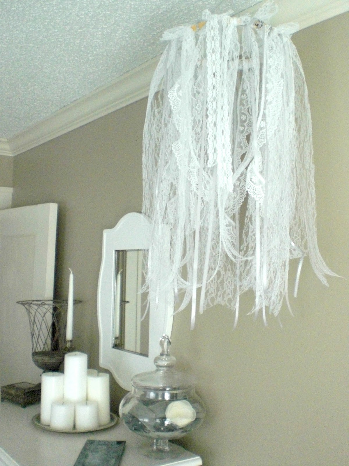 12th and white diy ribbon and lace chandelier diy ribbon and lace chandelier arubaitofo Choice Image