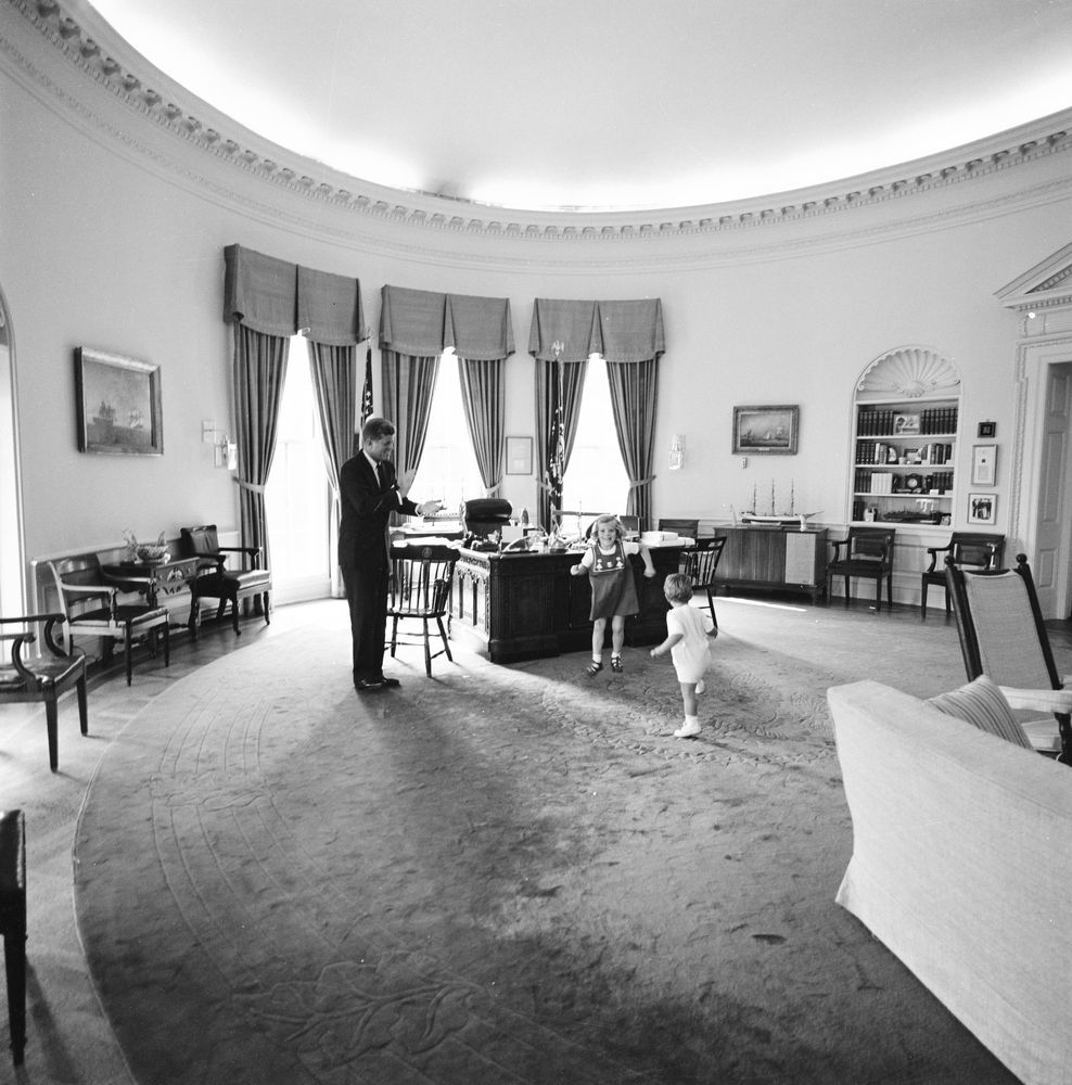 jfk in oval office. JFK Jr. And Caroline Kennedy Romp In The Oval Office (October 10, 1962). Click To Enlarge: Jfk D