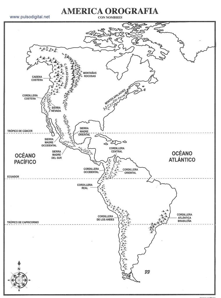 Mapa Orografico De America