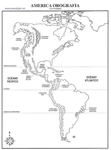 Mapa de la orografía de América con nombres