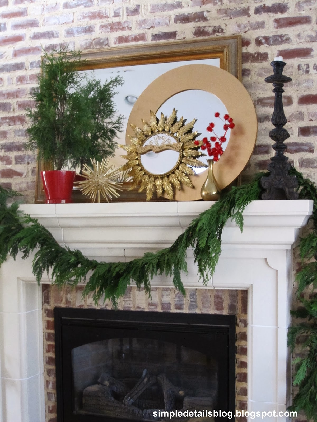 simple details christmas mantel and bookcases 2013