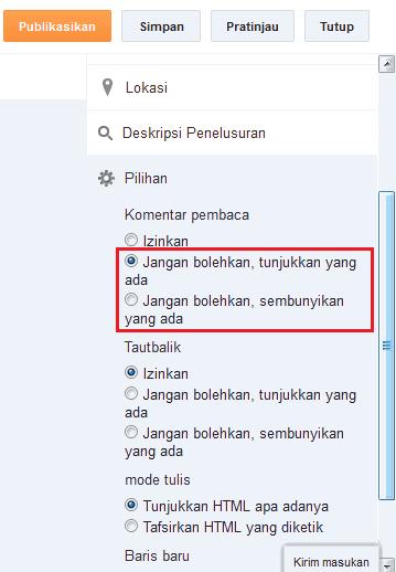 Cara menutup komentar pada blogspot