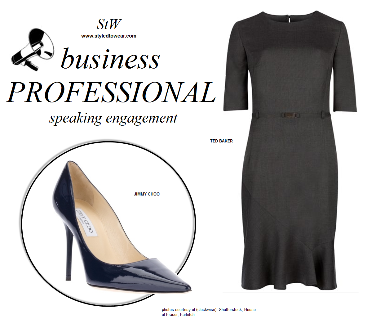 Business professional dress attire for women participating in panel discussions.