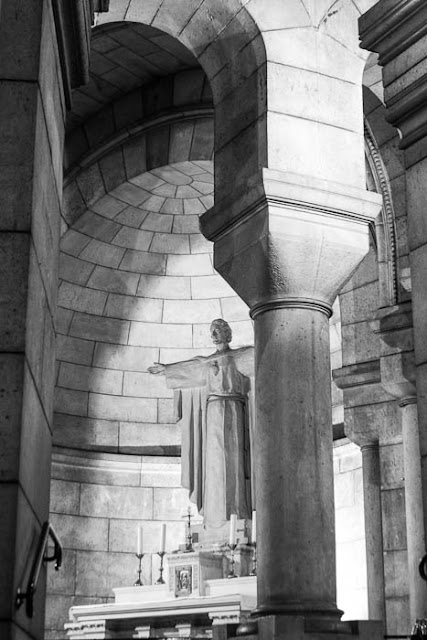 religious statue in the crypt at Sacre Coeur