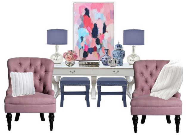 Pink and Navy Living Room Makeover