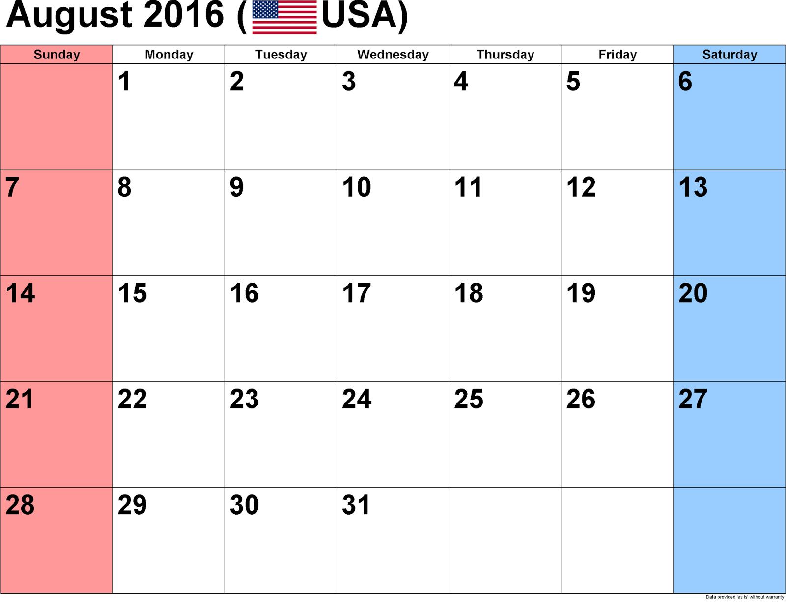 Calendar with US Holidays Free, August 2016 Printable Calendar Cute ...