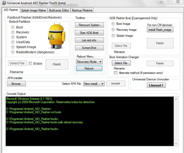 Poner una Tablet Android en Modo Recovery con el programa Android AIO Flasher