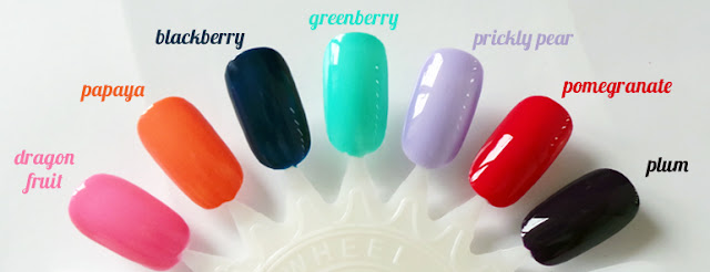 Review - Barry M Gelly Hi Shine Nail Paints - Dragonfruit, Papaya, Blackberry, Greenberry, Prickly Pear, Pomegranate, Plum