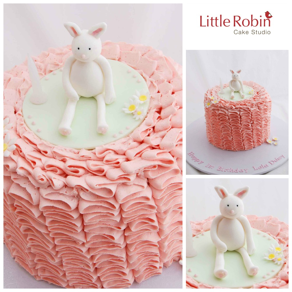 Little Robin 1st Birthday Cake With Bunny Topper
