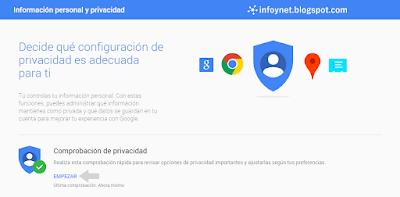 Acceder a la comprobación de privacidad de una cuenta de Google
