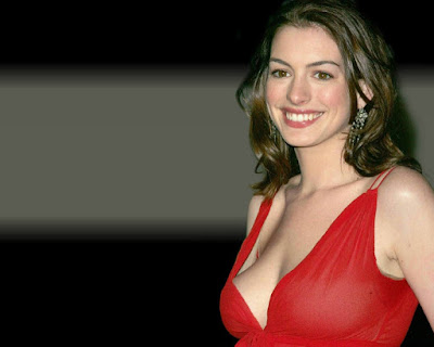 Actress Anne Hathaway In Red Dress Wallpaper