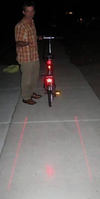 The Laser Lite Lane projects very well on light colored concrete.