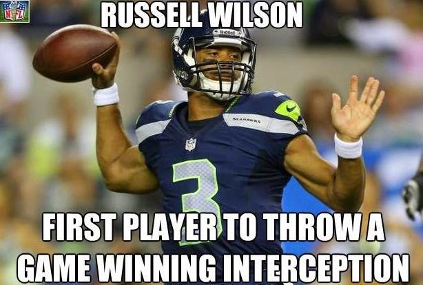 Russell wilson first player to throw a game winning interception