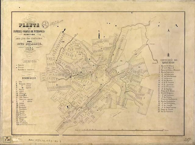 Planta dos bairros da cidade de Petrópolis, RJ, em 1854