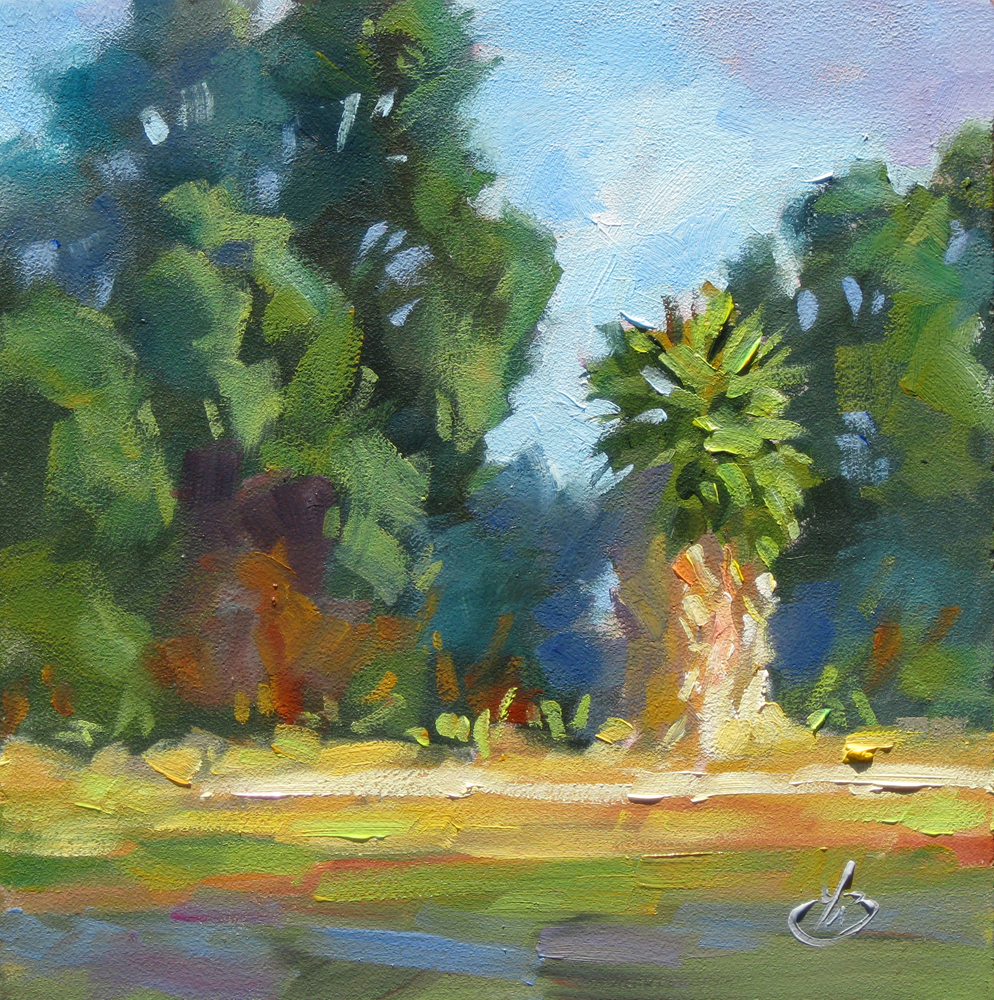 Tom brown fine art california palm tree plein air 6x6 for Painting palm trees