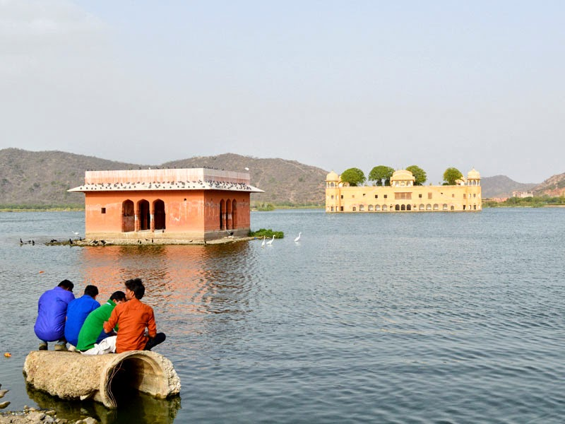 a Friend group looking Jal mahal