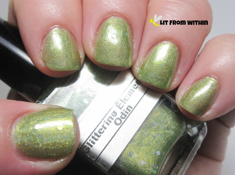 Glittering Elements Odin, a metallic green with hidden holo hex glitters