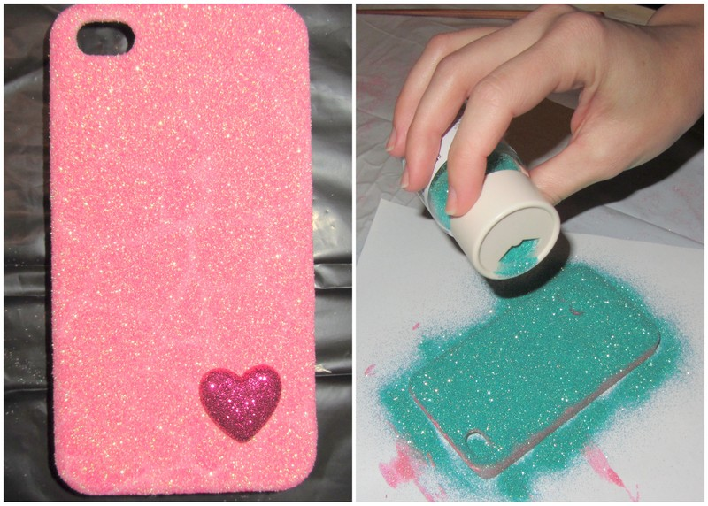 Diy glitter cell phone case linen lace love for How to make phone cases at home