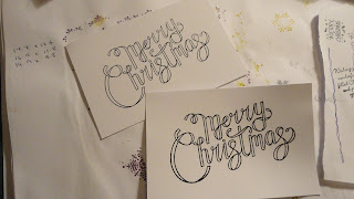 Merry Christmas ribbon writing in black