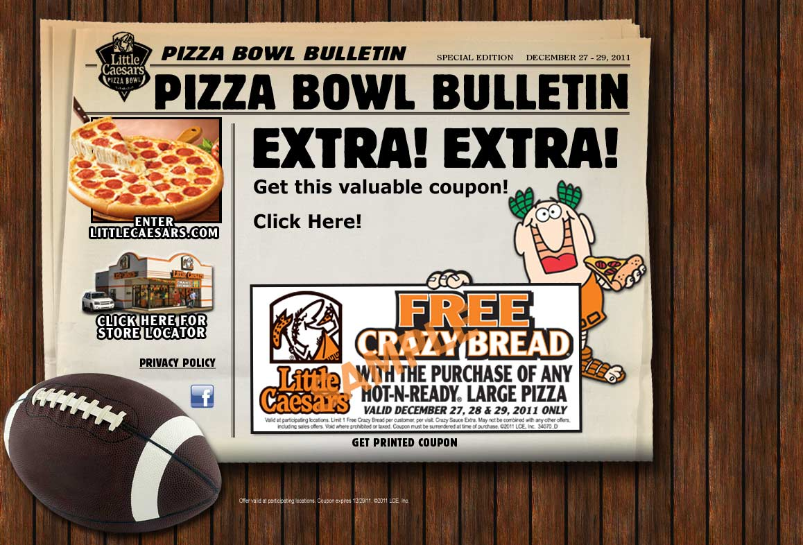 Coupon for little caesars free crazy bread