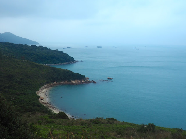 View of coastline and ocean to the south from the Lookout Pavilion on the Family Trail walk, Lamma Island, Hong Kong