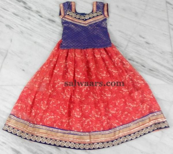 Light Orange Print Lehenga