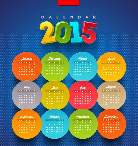 Round stickers 2015 Calendars vector