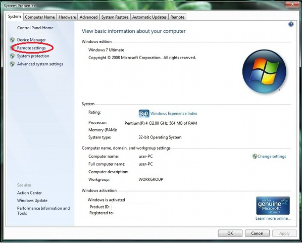 configure remote desktop connection on windows 7, vista operating system