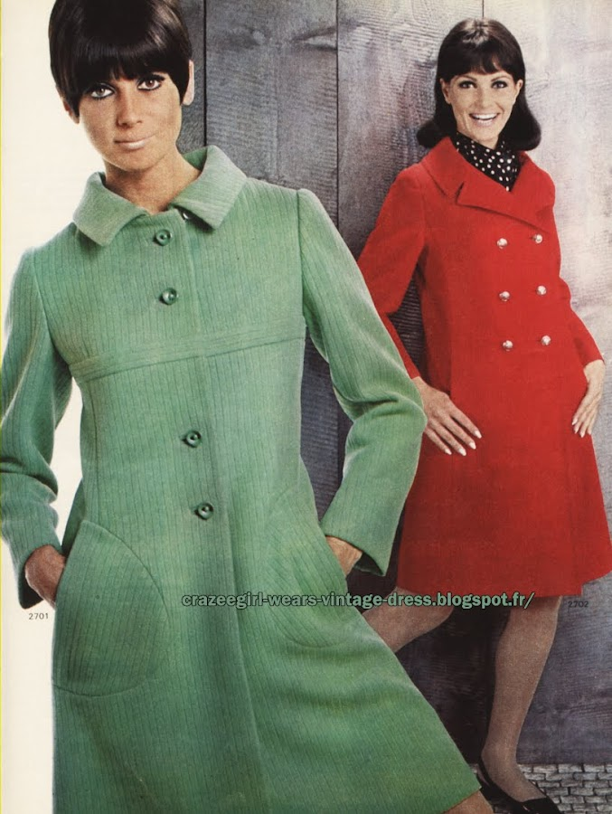 Coat - 1967 green red 60s 1960 mod haircut