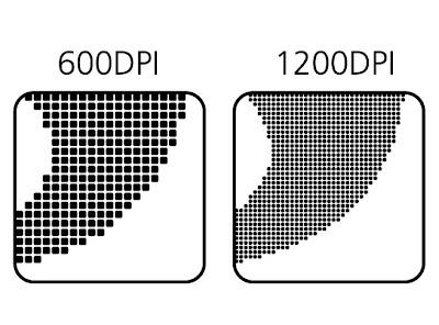 Элемент, отпечатанный в качестве 600 и 1200 dpi