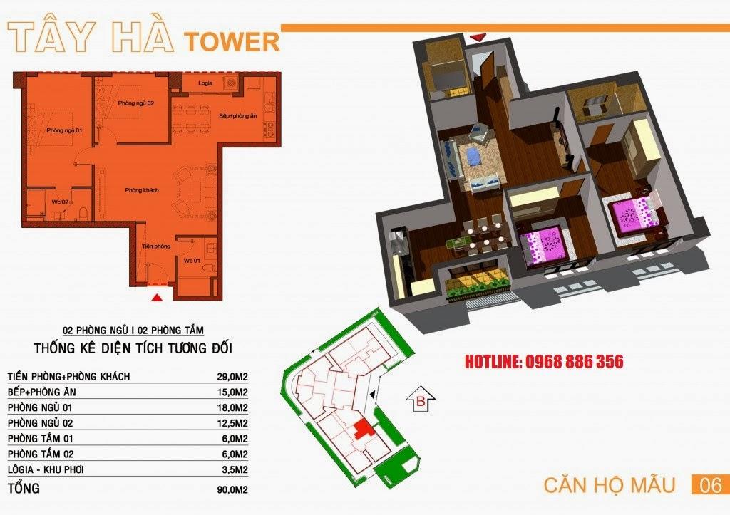 Căn hộ số 6 chung cư Tây Hà Tower