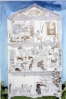 TRAUTES HEIMRadierung, koloriert. 2008, Bildformat 29,5 x 20 cm, Papierformat 43 x 30 cm. In dieser Form Unikat. Signiert