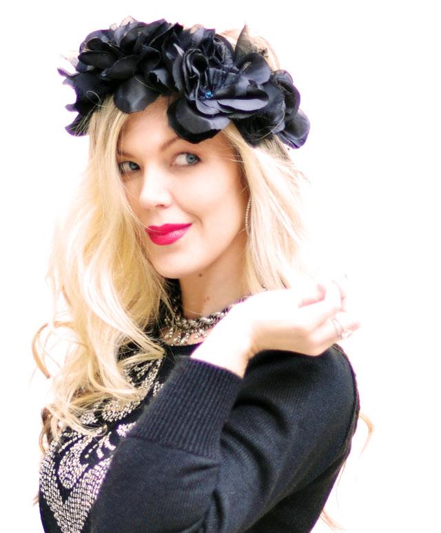 Pretty in Punk, DIY Black Flower Head Crown