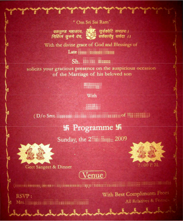 Indian wedding card wordings in text format