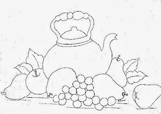 desenho chaleira com peras, maças e uvas