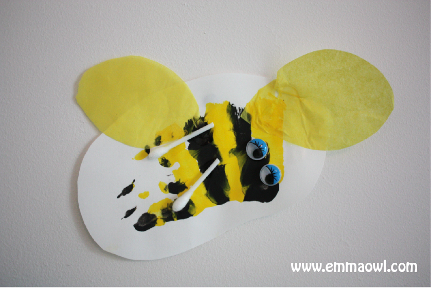 http://www.emmaowl.com/blog/bottle-top-beehive-and-hand-print-bees/
