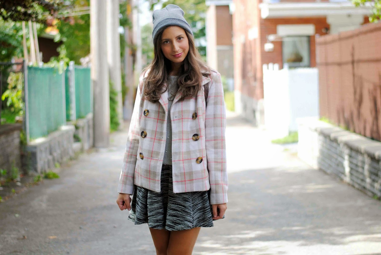 fall fashion booties plaid coat