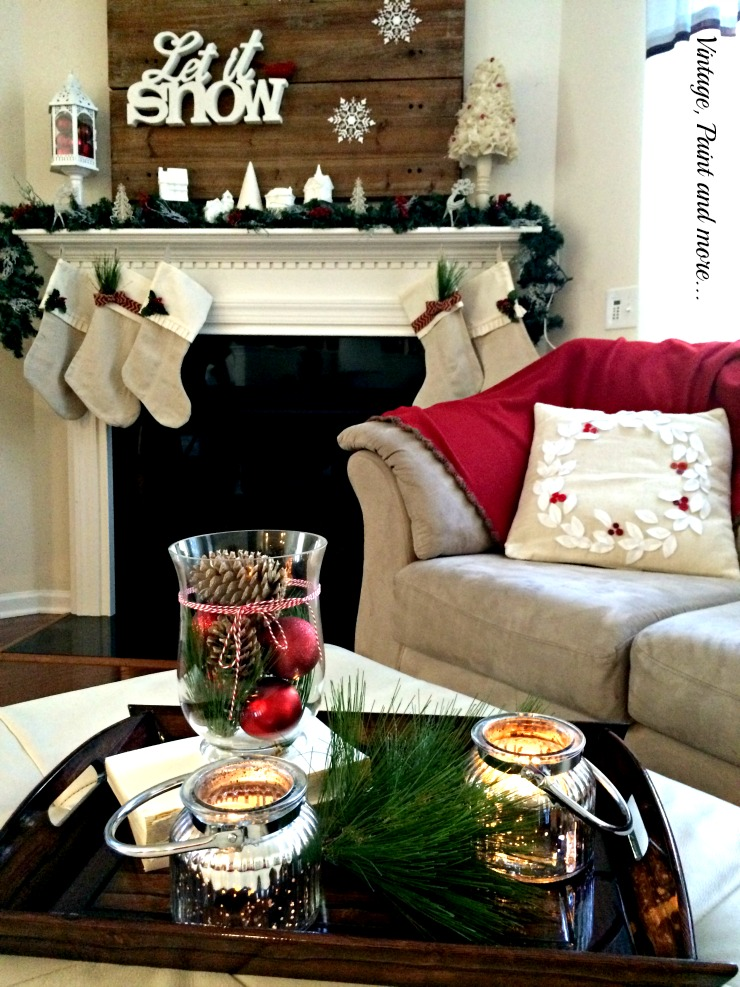 Vintage, Paint and more... Christmas mantel with let it snow theme done with vintage items and diy drop cloth stockings