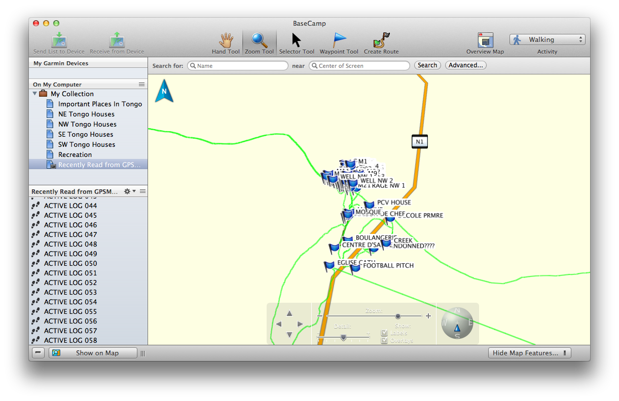 this is what garmin basecamp looks like when you do some traveling and add some waypoints