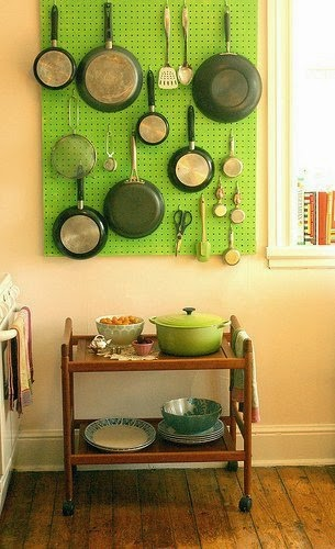 Pegboard for organizing pots and pans