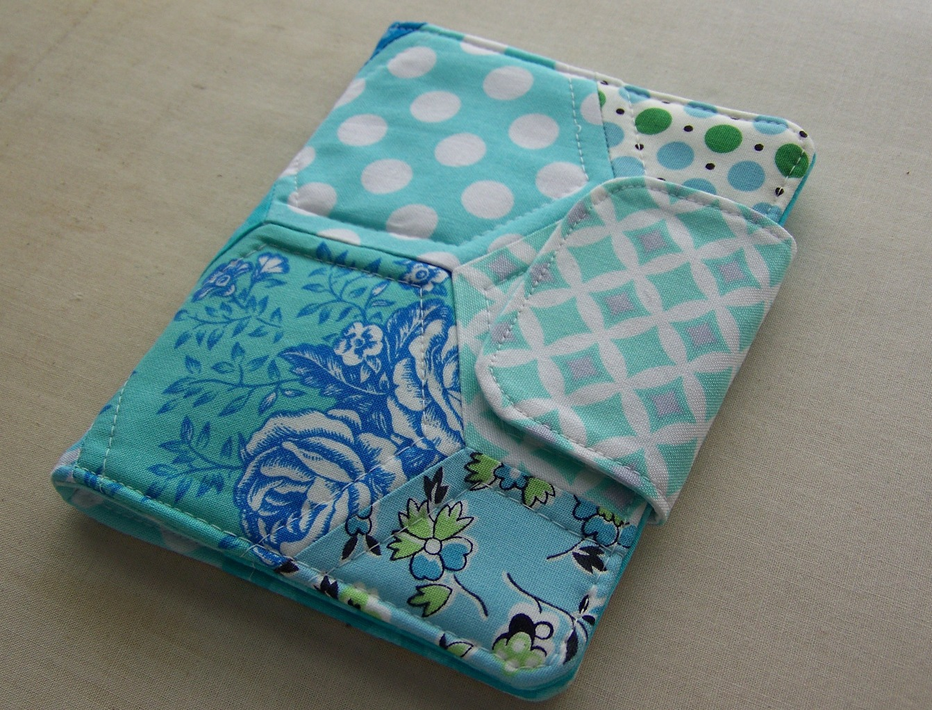 Sewing Fabric Book Cover ~ Sew lux fabric hexagon needle book